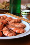 Prawn and white wine. Cooked prawn and chinese white wine Stock Images