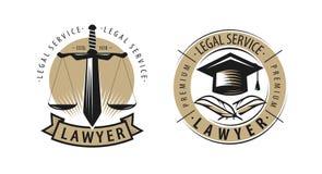 Prawnik, kancelaria prawna logo lub etykietka, Usługi prawne, sprawiedliwość symbol wektor ilustracja wektor