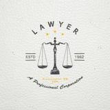 Prawnik usługa Kancelaria prawna Sędzia prokurator okręgowy prawnik rocznik etykietki Stary retro rocznika grunge typograficzny ilustracji