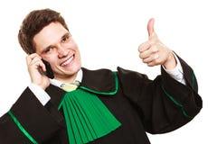 Prawnik z kciukiem up robi rozmowie telefonicza Obraz Royalty Free