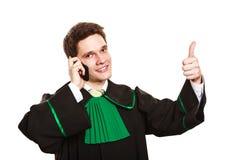 Prawnik z kciukiem up robi rozmowie telefonicza Fotografia Royalty Free