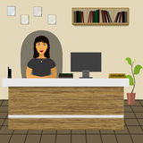 Prawnika konsultanta administratora urzędnika sekretarki dyrektora obsiadanie przy biurkiem w biurze Zdjęcia Stock