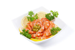 Prawns. Salad on white background Royalty Free Stock Image