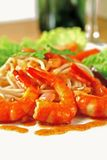 Prawns. Delicious plate of pasta with prawns stock photos