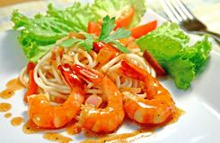 Prawns. Delicious plate of pasta with prawns royalty free stock photography