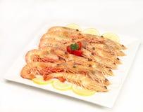 Prawns anyone?. A platter of yummy prawns Stock Photography