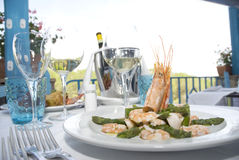 Prawns and asparagus. Prawns and italian asparagus served stock photography