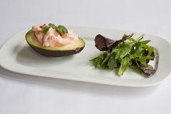 Prawns & Avocado. Half an avocado topped with prawns in a marie rose sauce served with a green salad Stock Images