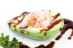 Prawns and avocado Stock Image