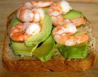 Prawns and avocado on toast Royalty Free Stock Photos