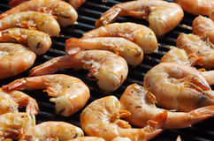 Prawns on the barbecue Royalty Free Stock Photos