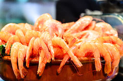 Prawns in a  bowl. These prawns in a bowl were photographed on a market in Alicante, Spain Stock Photography
