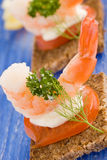 Prawns canapes Royalty Free Stock Photo