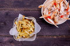 Prawns and chips Royalty Free Stock Image