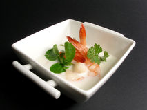 Prawns and coconut milk soup. Yummi prawn and coconut soup stock images