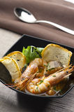 Prawns and conger soup royalty free stock photo