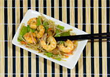Prawns and cooked vegetables in a wok Royalty Free Stock Images