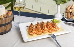 Prawns with curry sauce served with basmati rice. royalty free stock photos