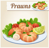 Prawns. Detailed Vector Icon Royalty Free Stock Photography