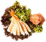 Prawns on fresh salad Royalty Free Stock Images