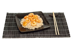 Prawns and fried rice Stock Image