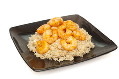 Prawns and fried rice Royalty Free Stock Photos