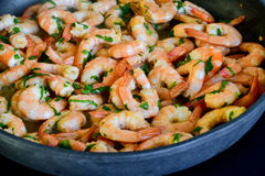Prawns on frying pan Royalty Free Stock Photos