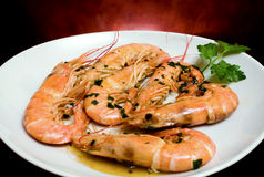 Prawns With Garlic Royalty Free Stock Photography