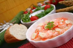 Prawns with garlic Stock Images