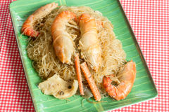 Prawns with glass noodles steamed Stock Photography