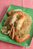 Prawns with glass noodles steamed Stock Images