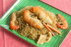 Prawns with glass noodles steamed Stock Image