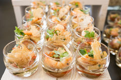 Prawns in glasses as appetizer Royalty Free Stock Image