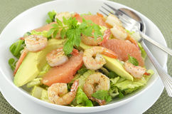 Prawns, grapefruit and avocado salad Stock Photography