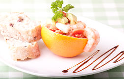 Prawns and grapefruit salads served on the plate Royalty Free Stock Image