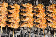 Prawns on the grill Royalty Free Stock Photography