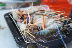 Prawns are grilled on the electric  Barbecue grill Stock Photo