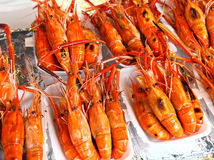 Prawns grilled. On a street market royalty free stock images