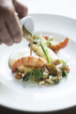 Prawns and grilled vegetables with mustard sauce Stock Images