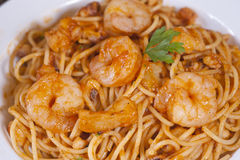 Prawns a la penne meal Royalty Free Stock Images