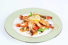 Prawns with Lemon on the plate Stock Photography