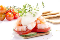 Prawns with mayonnaise Stock Image