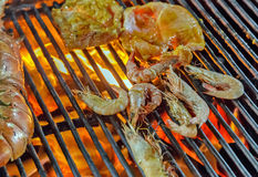 Prawns on metal grill GRILLED SEAFOOD Royalty Free Stock Photo