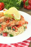 Prawns with Mie noodles with dill stock photos