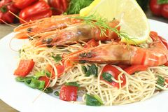 Prawns with mie noodles stock image