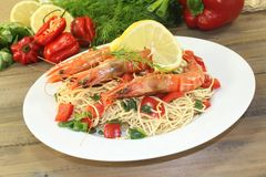 Prawns with Mie noodles with vegetables stock image