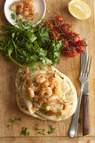 Prawns with naan bread Stock Image
