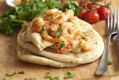 Prawns with naan bread Stock Photography