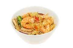 Prawns and noodles in a bowl stock image