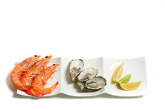 Prawns and oysters on a plate isolated on white Royalty Free Stock Photography